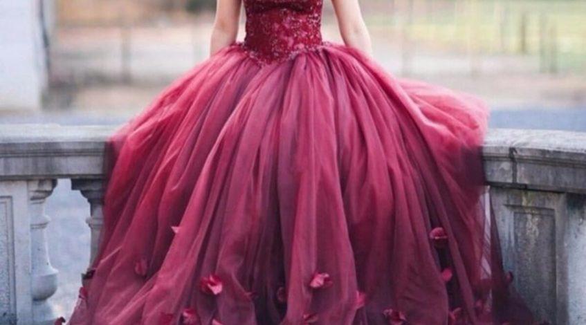 бордовое платье невесты