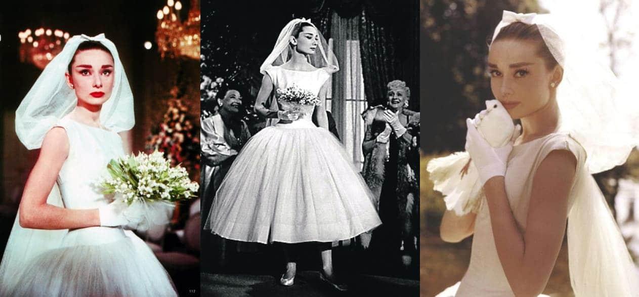 Одри Хепберн в коротком свадебном платье